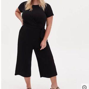 Torrid Black Rib Twist Front Culotte Jumpsuit